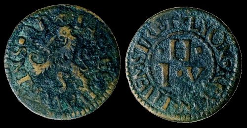 A further mid-17th century farthing token issued by by a tradesman living off Thames Street (possibly at Lion('s) Quay in the parish of St. Botolph, Billingsgate.