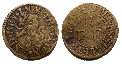 A mid-17th century farthing token issued by by a tradesman living off Thames Street in the parish of St. Botolph, Billingsgate.