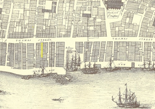 Part of John Ogilby and William Morgan's 1676 Map of London showing Thames Street and the River Thames waterfront around Billingsgate Dock post its redevelopment after the Great Fire of 1666.