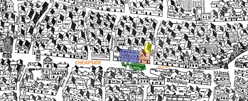 "A section of the Agas Map of London (c.1561) showing part of Cheapside Ward and including location details of the home of Thomas Bonny in Old Jewery (in yellow); the parish church of St. Mary Colechurch (in red); the Mercers' Hall (in blue) and the Great Conduit (in green) being one of the city's principle supply points of ""clean"" water."