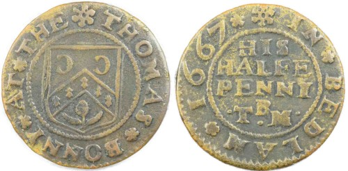 A half penny tradesman's token issued by Thomas Bonny of Bedlam