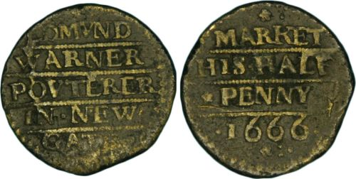 A half penny trade token of 1666 issued by Edmund Warner, a poulterer, of Newgate Market.