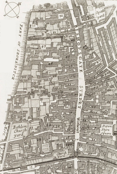 A map of the Ward of Bishopsgate Without, London in c.1720