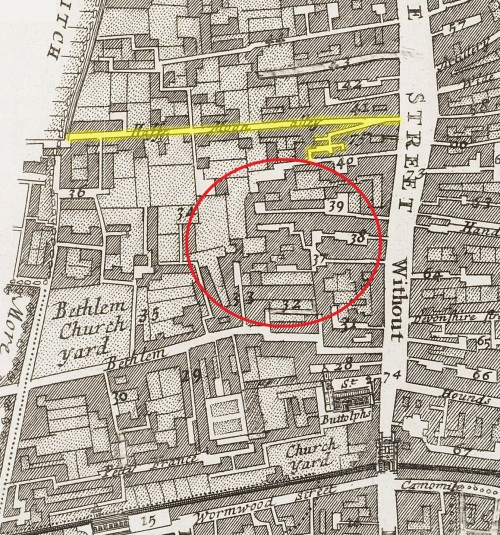 A map of the Ward of Bishopsgate Without, London (c.1720) indicating the general area where Ralph Butcher is believed to have lived. Half Moon Alley is indicated in yellow.