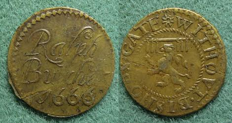 A farthing tradesman's token issued by Ralph Butcher of Bishopsgate Without, London (Image courtesy of Simmons Gallery)