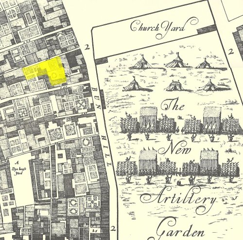 A map of Bunhill Fields in 1676 showing the location (in yellow) of Checker Alley Quaker Burial Ground at its maximum extent in size