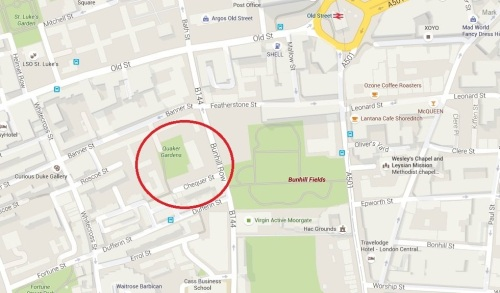 The location of Quaker Gardens south of Old Street, London