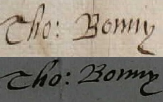 Signatures of Thomas Bonny - c.1666 (top) and 1671 (bottom)