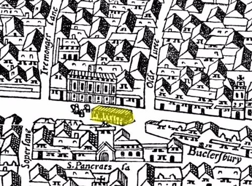 A section of the Agas Map of London (c.1561) showing part of Cheapside Ward and highlighting the location of the Great Conduit (in yellow) in front of the Mercers' Hall.