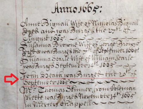 "The burial record of a ""John Heath"" from the parish registers of St. Mary Colechurch, London. Dated 20th September 1665."