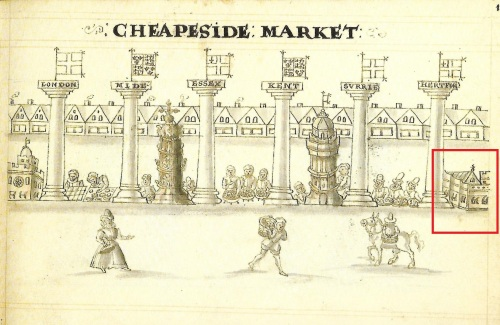 "The depiction of Cheapside Market showing the ""Great Conduit"" (building far right). Taken from a page of Hugh Alley's ""A Caveat for the City of London"" published in 1598."