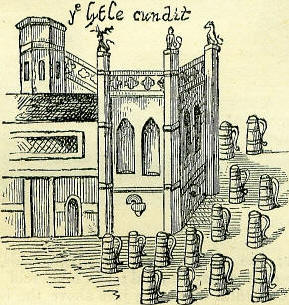 "The depiction of the ""Little Conduit"" in West Cheapside from a print of 1585."