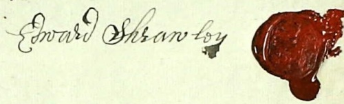 The signature and seal of Edward Shrawley, taken from his Last Will & Testimony of 6th August 1690.