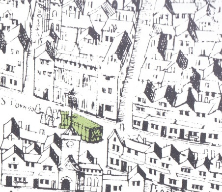 A section of a map of London (c.1550) showing the parish of St. Mary Colechurch and highlighting the location of the Great Conduit (in yellow) in front of the Mercers' Hall.