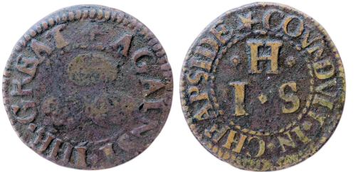 A mid-17th century token issued by a tradesman operating from the sign of The Three Tuns, near the Great Conduit in Cheapside, London.