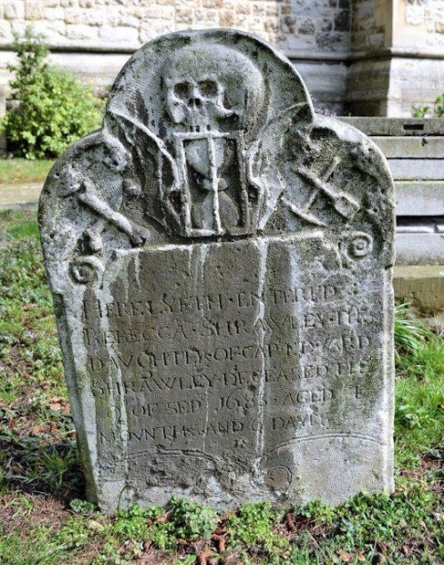 The 1683 grave marker of Rebecca Shrawley in the churchyard of Chrish Church, Southgate, Middlesex.