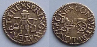 A mid-17th century London trade token likely issued by a fresh water delivery man operating from the Long Acre Conduit, London. His token clearly illustrates some of the tools of his trade for delivering water. On the obverse is a man with a yoke and two pales while on the reverse is depicted a horse drawn cart carrying a water barrel.