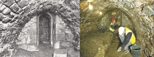 The undercoft of the Great Conduit in Cheapside as it appeared when first discovered in 1899 and after its rediscovery and subsequent excavation by Museum of London Archaeology in 1994.