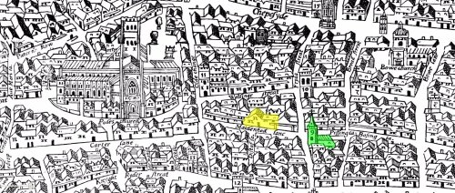 A section of the Agas Map of central London (c.1561) showing the relative positions of the Cordwainer's Hall (indicated in yellow) on Distaff Lane and the parish church of St. Margaret Moses (indicated in green).