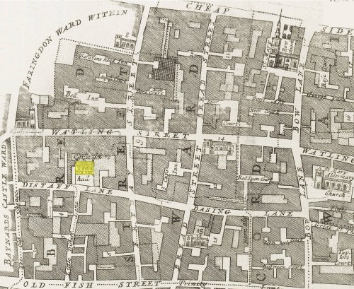A map of part of part of the Bread Street Ward of London (c.1720) showing the location of the Cordwainer's Hall (indicated in yellow) on Distaff Lane.
