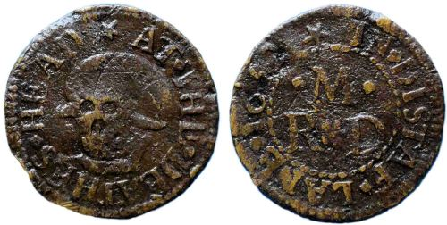 A mid-17th century token issued by a tradesman operating from the sign of the Death's Head in Distaff Lane, London.