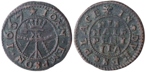 A mid-17th century token issued by John Empson of Duke's Place, London