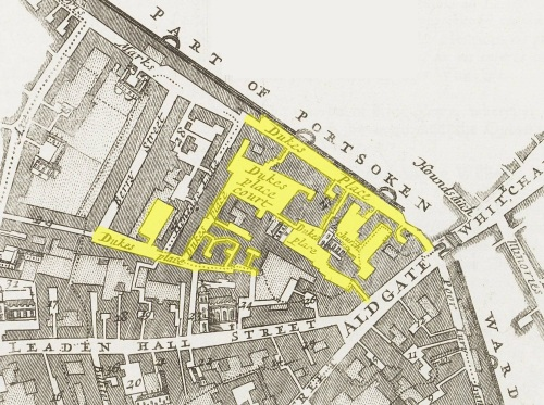 Part of the Ward of Aldgate, London, showing the district of Duke's Place (c.1720).