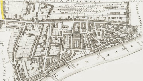 The Hanlet of Wapping (c.1720) showing the location of Blue Fields.