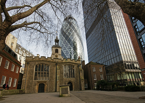 The parish church of (Great) St. Helen's Bishopsgate, London showing the now paved over ancient churchyard where the Empson family were buried.