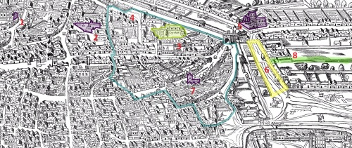 Part of the Agas Map of London (c.1561) - Locations Shown: St. Peter le Poer Church (1); St. Henen's Bishopsgate (2); Priory of Holy Trinity, i.e. Dukes's Place (3); Perimeter of Aldgate Ward (4); St. Botolph's Without, Aldgate (5); The Minories (6); St. Katherine Coleman (7); Future location of Swan Alley (8).