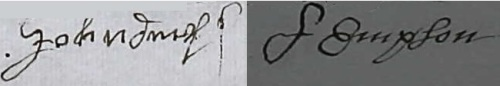The signatures of John (left) and Ann (right) Empson respectively taken from their last Will and Testaments.