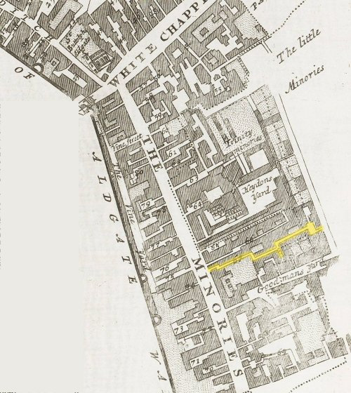 The Minories district of St. Botolph's Without. Aldgates showing the location of Swan Alley (c.1720).