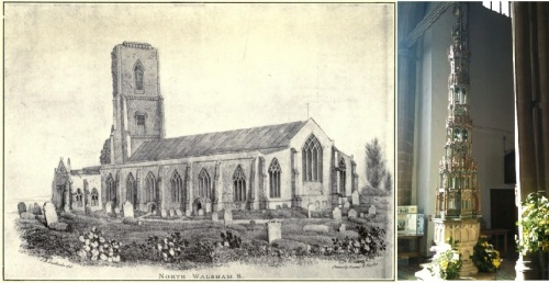 The parish church of St. Nicholas, North Walsham (right) and its highly ornately covered font (left) in which John Empson was potentially baptised in 1608/9.