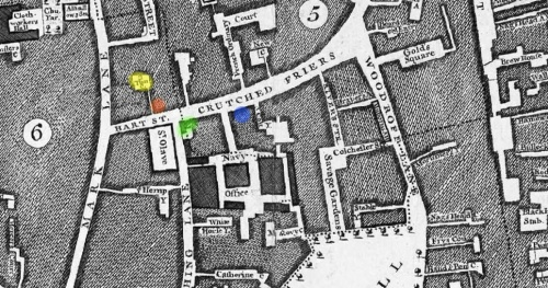 Part of John Rocque's Map of London (1746) indicating the location of the Three Tuns Tavern in Crutched Friards according to George Berry (BLUE) and the current writer (RED) plus the additional locations of Three Tuns Yard (YELLOW) and Samuel Pepys' lodgings (GREEN).