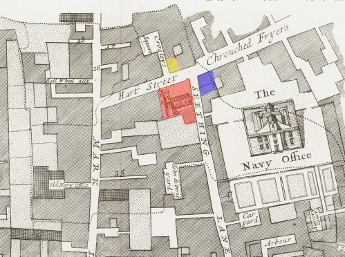 Seething Lane Area in 1678 - Showing the locations of Samuel Pepys' Lodgings (BLUE); the parish church of St. Olave, Hart Street (RED) and that most likely for the Three Tuns Tavern (YELLOW)